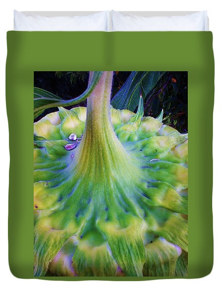 Duvet Cover featuring the photograph Sunflower...moonside 1 by Daniel Thompson