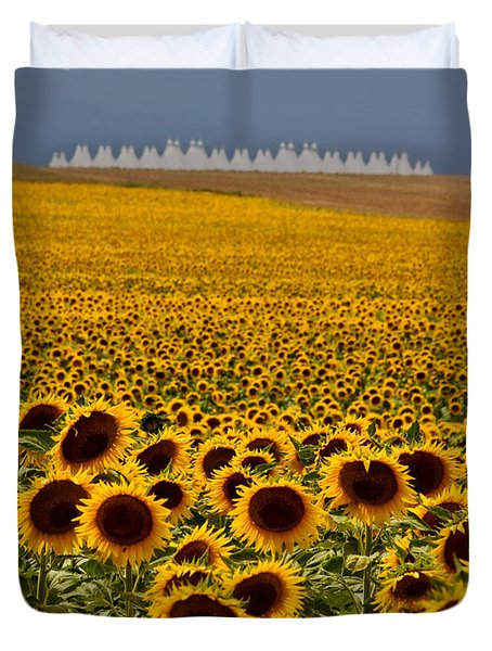 Sunflowers And Airports Duvet Cover
