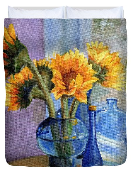 Sunflowers And Blue Bottles Duvet Cover