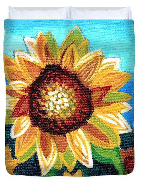 Sunflowers And Blue Sky Duvet Cover by Genevieve Esson