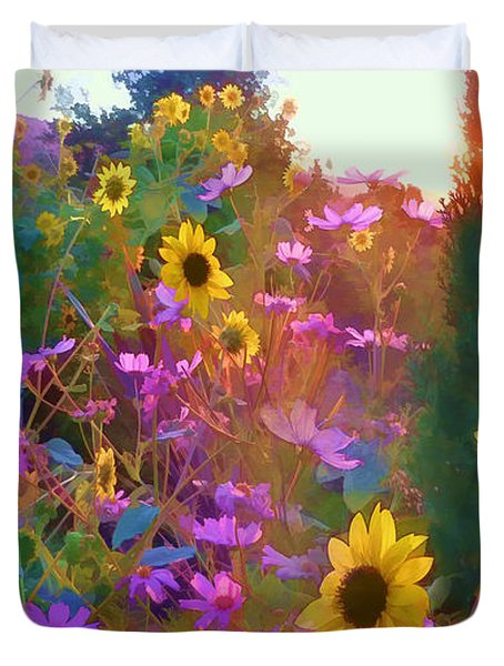 Sunflowers And Cosmos Duvet Cover