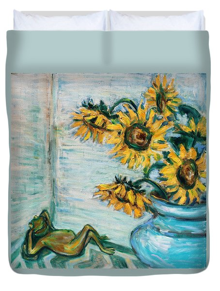 Sunflowers And Frog Duvet Cover by Xueling Zou