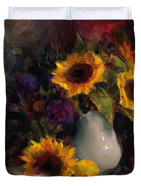 Sunflowers And Porcelain Still Life Duvet Cover