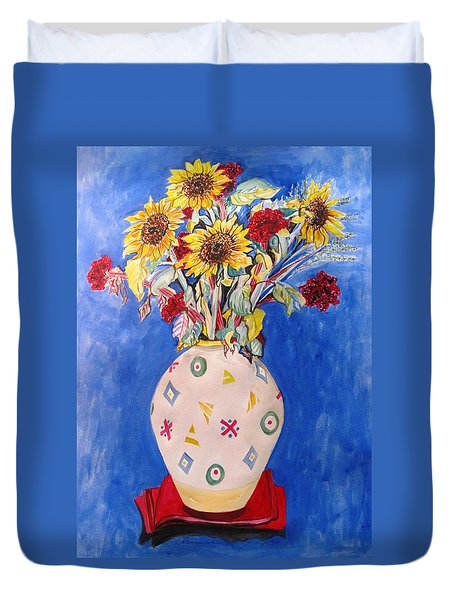 Sunflowers At Home Duvet Cover by Esther Newman-Cohen