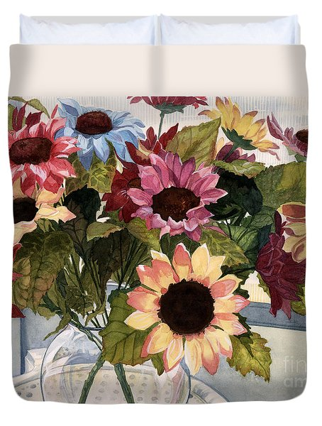 Sunflowers Duvet Cover by Barbara Jewell