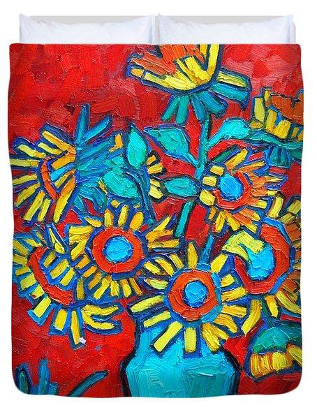 Sunflowers Bouquet Duvet Cover
