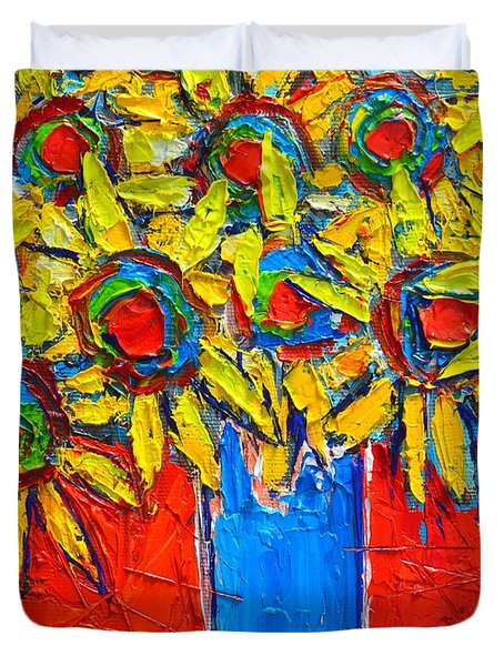 Sunflowers Bouquet In Blue Vase Duvet Cover by Ana Maria Edulescu