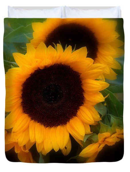 Duvet Cover featuring the photograph Sunflowers by Caroline Stella