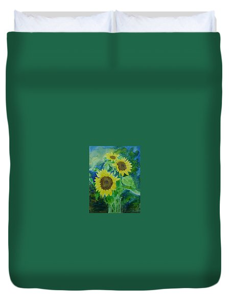 Sunflowers Colorful Sunflower Art Of Original Watercolor Duvet Cover