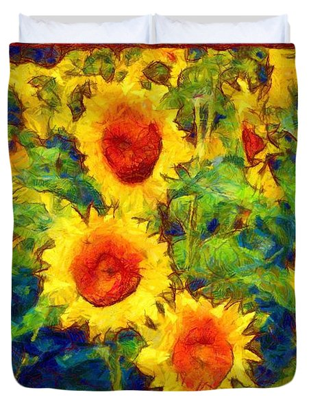 Sunflowers Dance In A Field Duvet Cover
