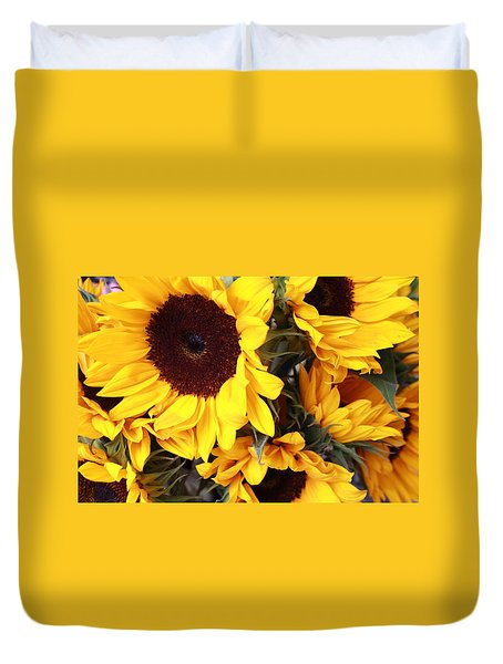 Duvet Cover featuring the photograph Sunflowers by Dora Sofia Caputo Photographic Art and Design