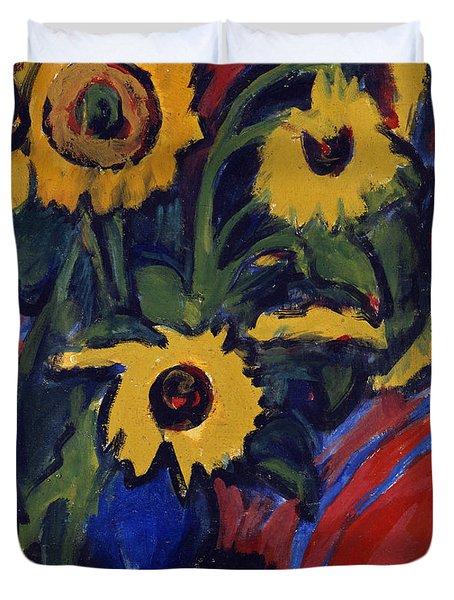 Sunflowers Duvet Cover by Ernst Ludwig Kirchner
