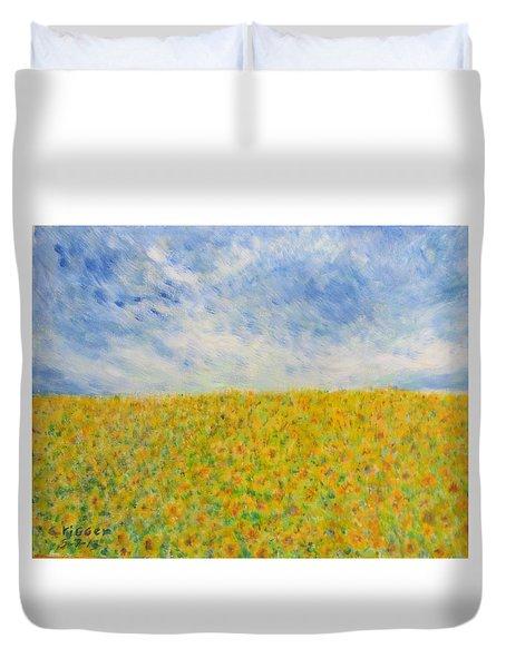 Sunflowers  Field In Texas Duvet Cover