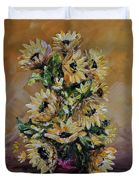 Duvet Cover featuring the painting Sunflowers For You by Teresa Wegrzyn