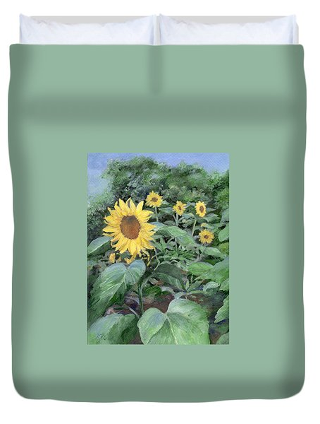 Sunflowers Garden Floral Art Colorful Original Painting Duvet Cover