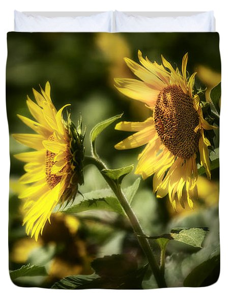 Duvet Cover featuring the photograph Sunflowers In The Wind by Steven Sparks