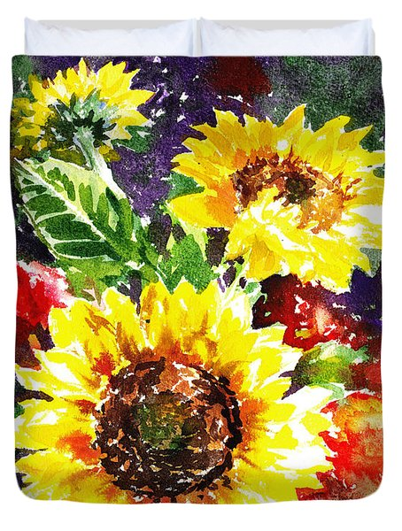 Duvet Cover featuring the painting Sunflowers Impressionism by Irina Sztukowski