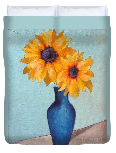 Sunflowers In A Blue Vase Duvet Cover by Venus