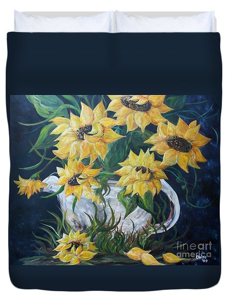 Duvet Cover featuring the painting Sunflowers In An Antique Country Pot by Eloise Schneider
