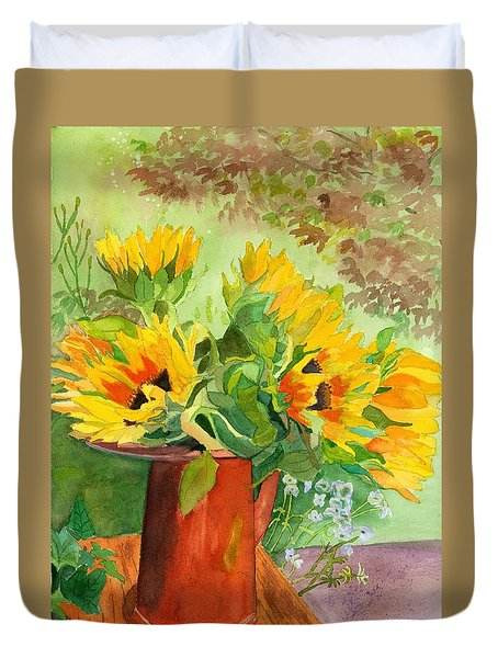 Sunflowers In Copper Duvet Cover