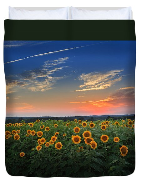 Sunflowers In The Evening Duvet Cover