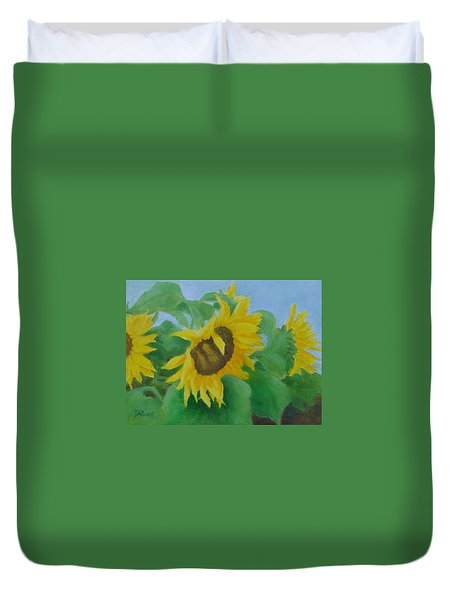 Sunflowers In The Wind Colorful Original Sunflower Art Oil Painting Artist K Joann Russell           Duvet Cover