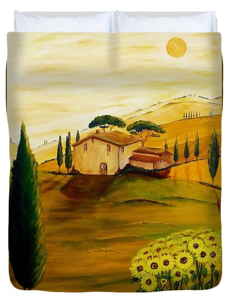 Sunflowers In Tuscany Duvet Cover by Christine Huwer