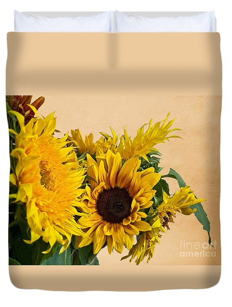 Sunflowers On Old Paper Background Art Prints Duvet Cover