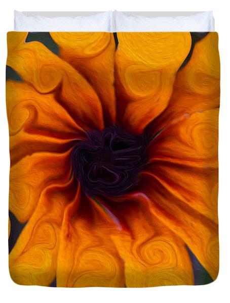 Sunflowers On Psychadelics Duvet Cover