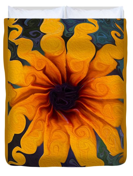 Sunflowers On Psychadelics Duvet Cover