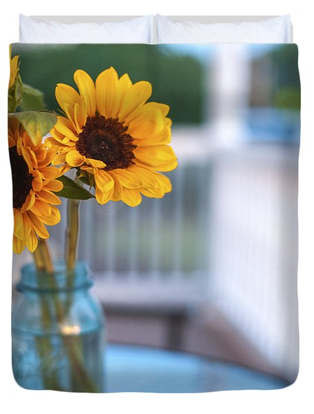 Sunflowers On The Porch Duvet Cover