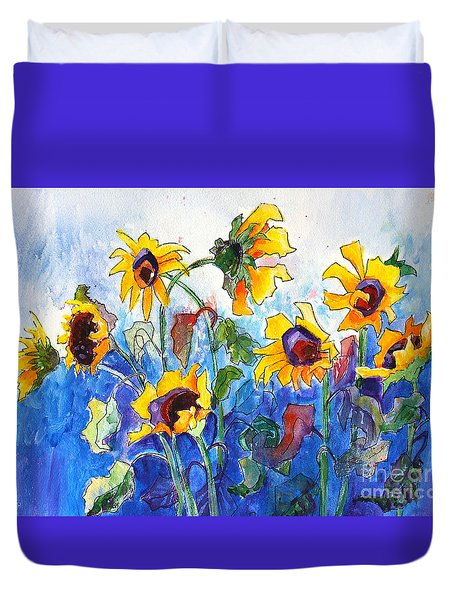 Duvet Cover featuring the painting Sunflowers by Priti Lathia