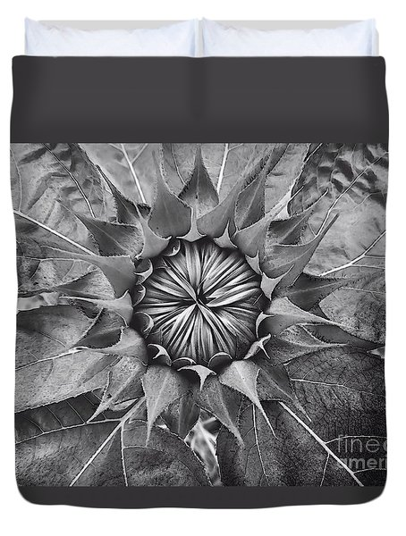 Sunflower's Shades Of Grey Duvet Cover by Elizabeth Dow