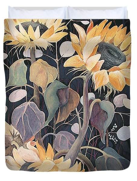 Duvet Cover featuring the painting Sunflowers' Symphony by Marina Gnetetsky