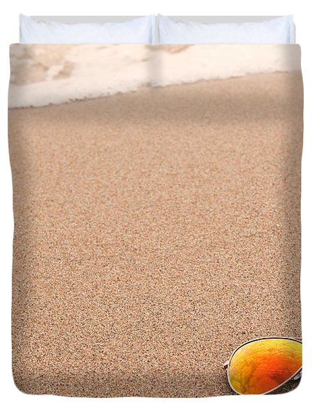 Sunglasses On The Beach Duvet Cover by Sharon Dominick