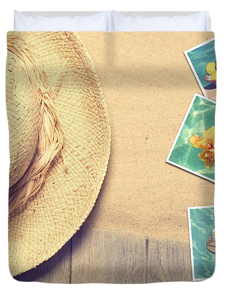 Sunhat And Postcards Duvet Cover by Amanda Elwell