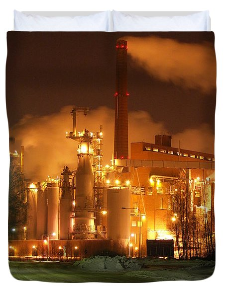 Sunila Pulp Mill By Winter Night Duvet Cover