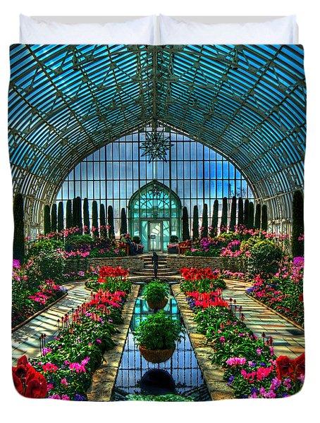 Sunken Garden Marjorie Mc Neely Conservatory Duvet Cover by Amanda Stadther
