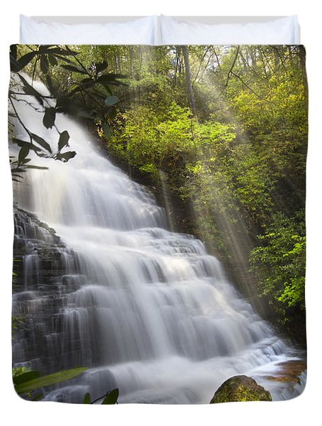 Sunlight On The Falls Duvet Cover by Debra and Dave Vanderlaan