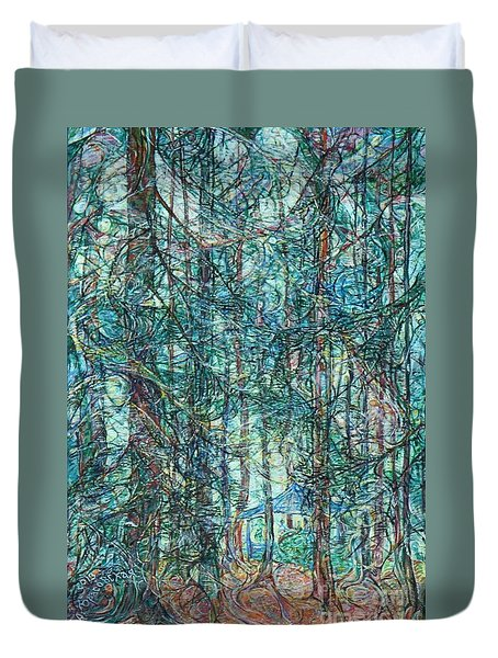 Sunlight Through Pines And Firs Duvet Cover