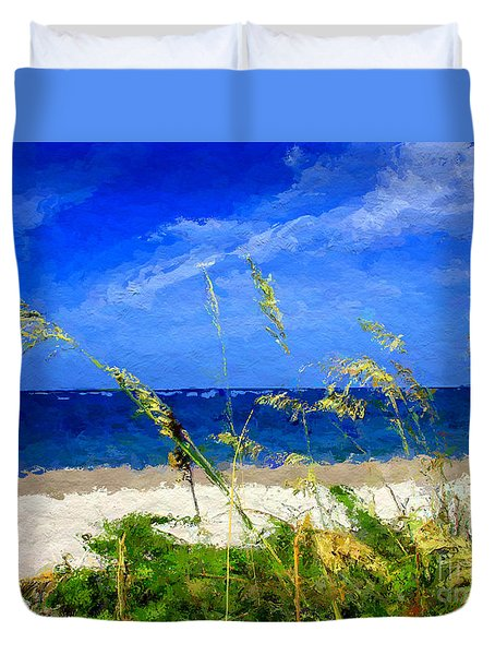Duvet Cover featuring the digital art Sunlit Beachgrass by Anthony Fishburne