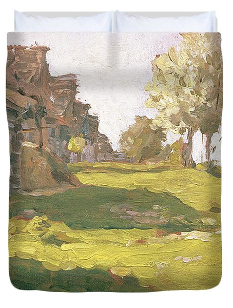 Sunlit Day  A Small Village Duvet Cover by Isaak Ilyich Levitan