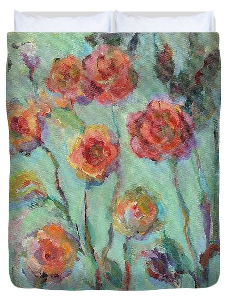 Duvet Cover featuring the painting Sunlit Garden by Mary Wolf