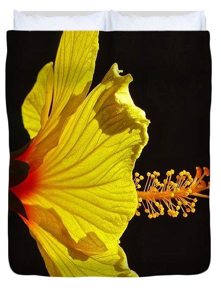 Sunlit Hibiscus Duvet Cover