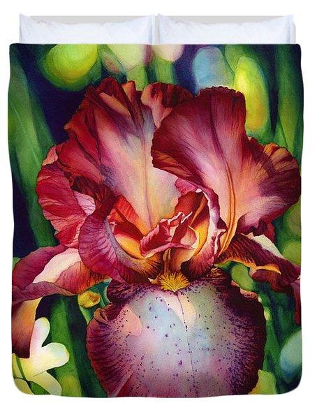 Sunlit Iris Duvet Cover