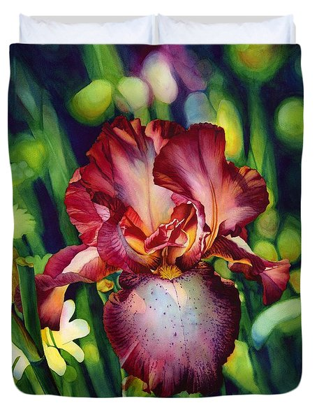 Duvet Cover featuring the painting Sunlit Iris by Hailey E Herrera