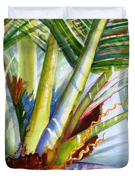 Sunlit Palm Fronds Duvet Cover