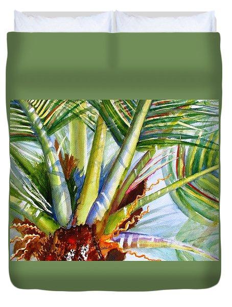 Sunlit Palm Fronds Duvet Cover by Carlin Blahnik