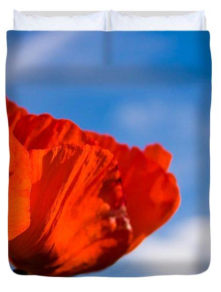 Sunlit Poppy Duvet Cover by Adam Romanowicz