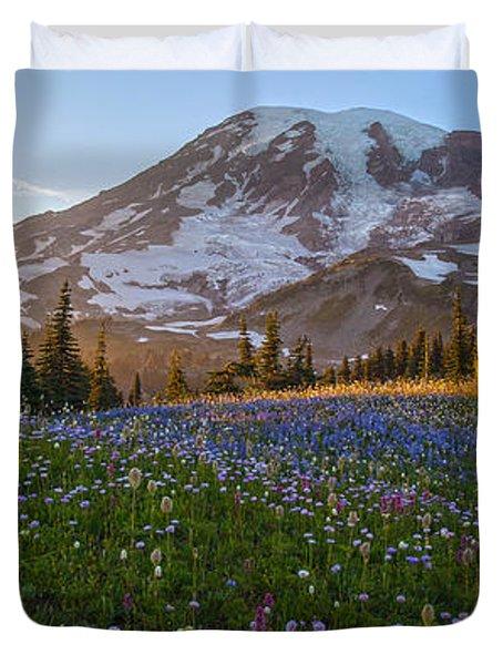 Sunlit Rainier Meadows Duvet Cover by Mike Reid